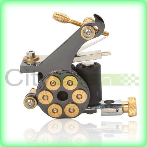 Revolver Bullet 10 Wrap Coils Cast Iron Tattoo Machine Gun Shader