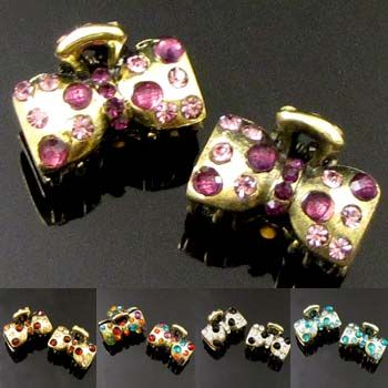 SHIPPING 2pc antiqued rhinestone crystal bow tie hair claw clip